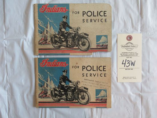 """Lot of 2- 1930's Indian Motorcycles """"Indians for Police Service"""" Handbooks"""