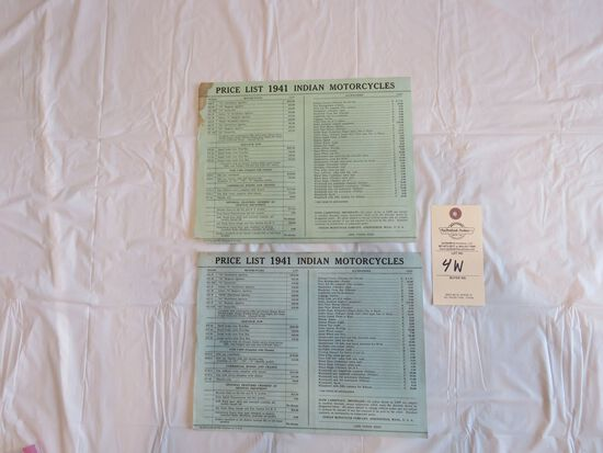 1941Indian Motorcycles Price lists