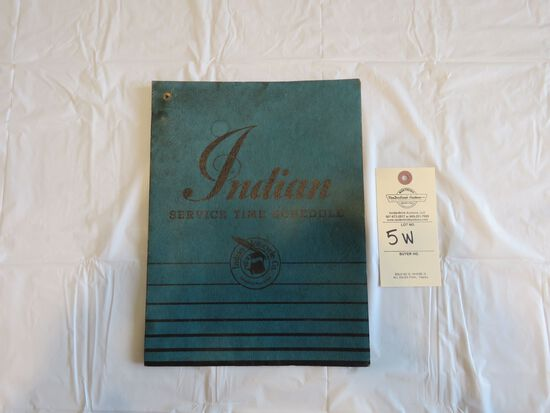 Indian Motorcycles Service Time Schedule Folder
