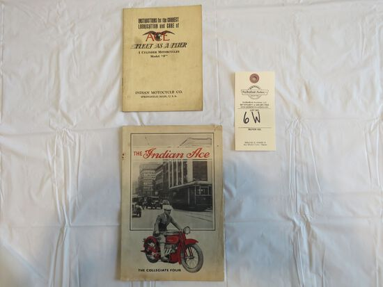 "1928 Indian Ace ""The Collegiate Four"" brochure and Lubrication Instruction Manual"
