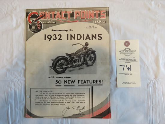 "Contact Points- No. 434, November 5, 1931 ""Announcing the 1932 Indians"""