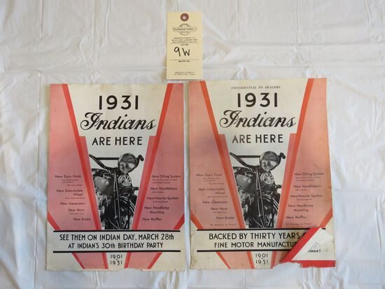 Lot of 1931 Indian Motorcycles Brochures