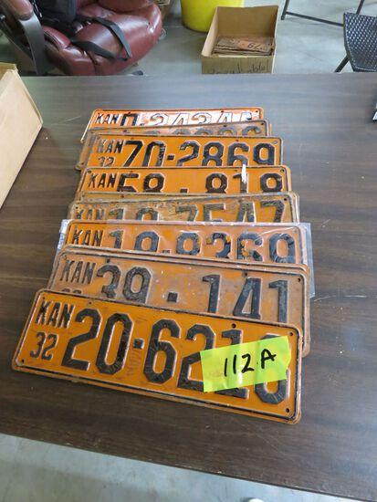 Grouping of Kansas 1932 License Plates