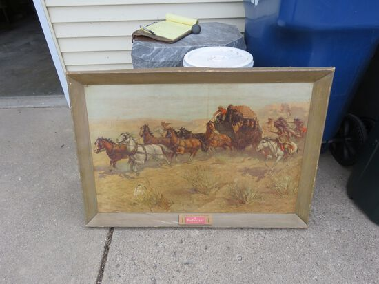 Antique Budweiser Custer's Last Stand Advertising Poster