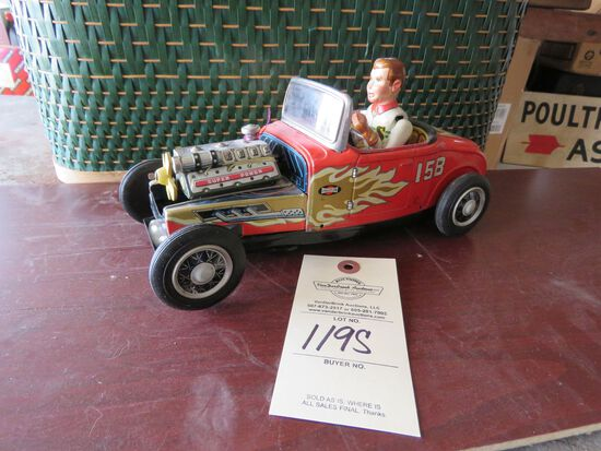 Vintage Tin Friction Hot Rod toy