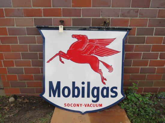 Mobil Gas Double Sided Porcelain Sign with Pegasus