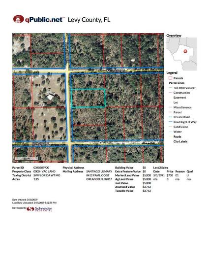 1.25 acre lot on NE 11th Terrace, Bronson, FL 32621 (contiguous with lot # 1014)
