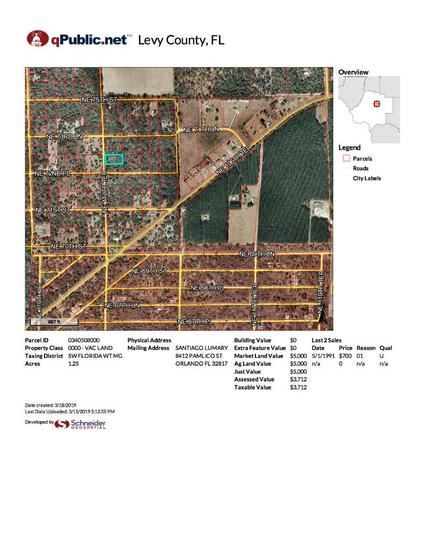 1.25 Acre Lot on NE 11th Terrace, Bronson, FL 32621 (contiguous with lot # 1013)
