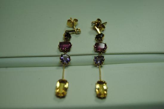Gemstone Dangle Earrings.