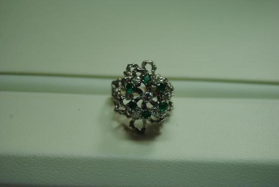 Diamond and Emerald cluster ring.