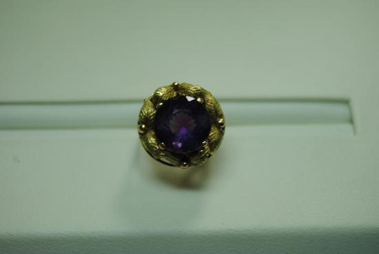 Two tone Amethyst fashion ring.