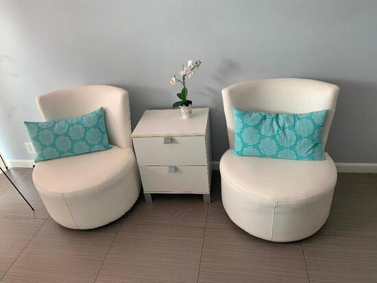 WHITE TWO DRAWER TABLE