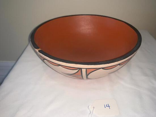 Black and cream on red bowl with traditional Santo Domingo design