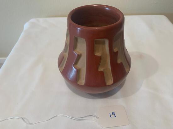 Redware Pot with painted stair step pattern in blue with red trim