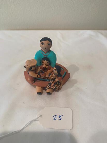 Ceramic Storyteller doll with four + children