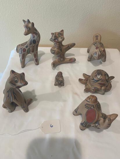 Seven miniature ceramic animals