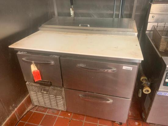 Continental 3 drawer stainless undercounter prep station