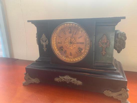 Antique Clock Ansonia Clock Co. Buffalo head mantle clock