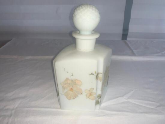 White Flowered Perfume Bottle