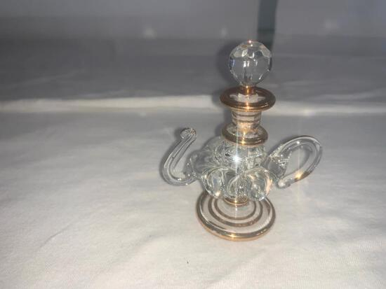 Genie Lamp Shaped Clear Glass Perfume bottle with gold trim