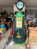Old fashioned gas pump clock with light