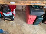 Misc lot under table: signs and tools