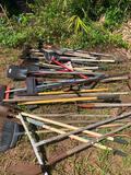 Misc. lot of shovels, hoes, pitchforks, etc.