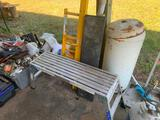 Misc. lot step scaffolding, misc. parts, tool box, rolling wood planter box