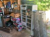 Picking rights corner & back wall: shelving, rims, tires, grill, engine on stand, Cart w/tools/boxes