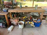 Workbench w/contents Ryobi drill press, Delta drill press (not working)