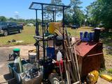 Misc. lot including metal rack, job box, handles, parts