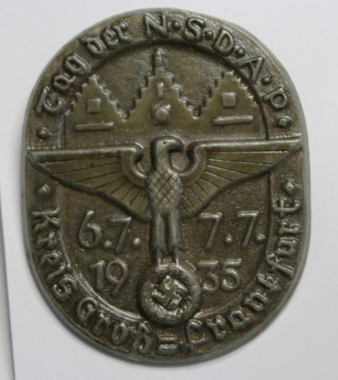 Germany A 1935 District Greater Frankfurt Day of the NSDAP Celebration Badge