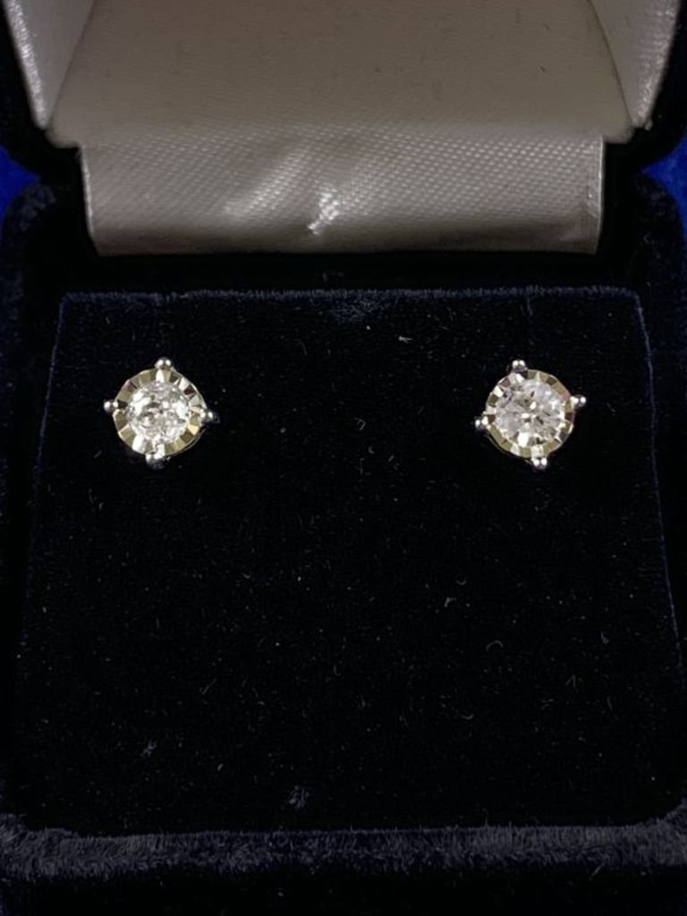 Large Diamond Solitaire Earrings