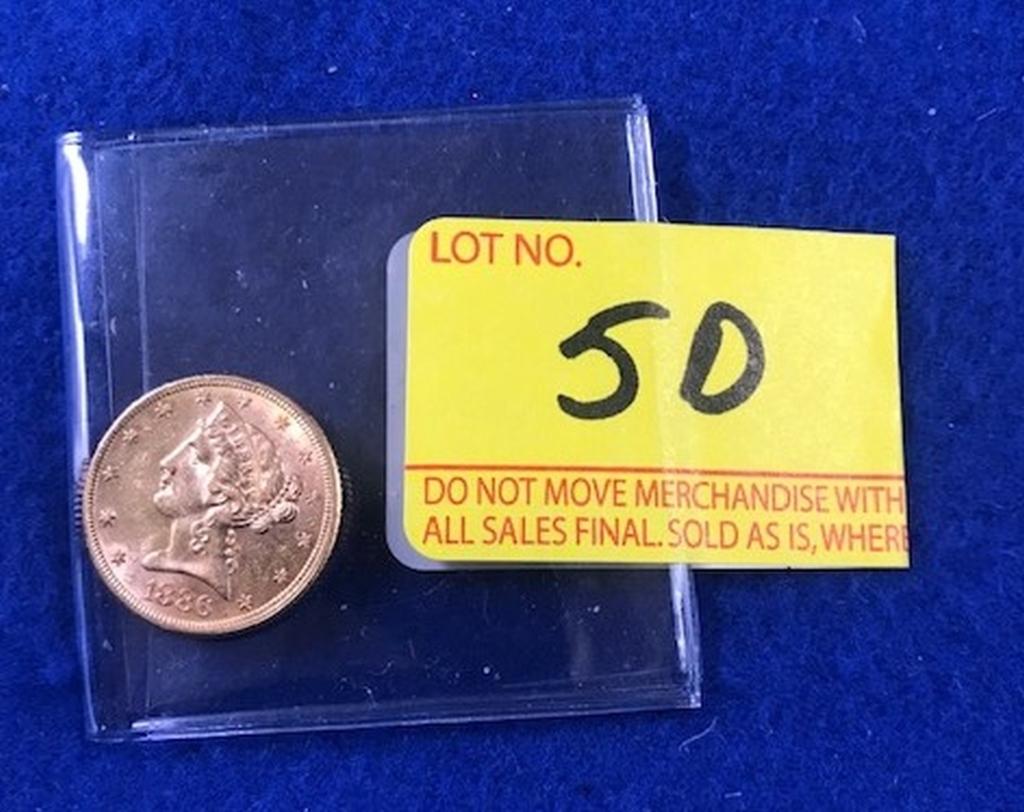 1886 $5.00 Gold Liberty Coin