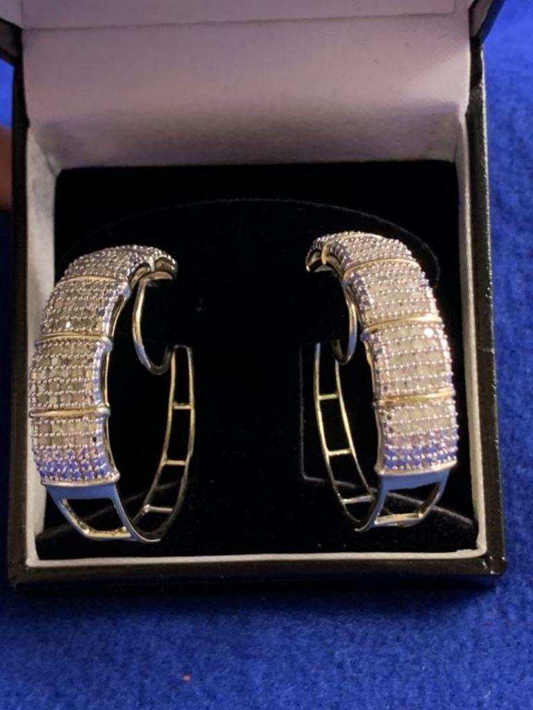 3ct Diamond Hoop Earrings