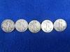 (5) Walking Liberty Silver Half Dollars
