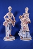 Pair of Large Porcelain Floral Decorated Figurines