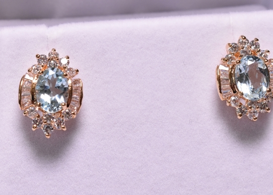 Blue Topaz & White Sapphire Earrings