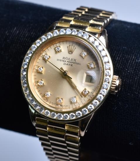 Ladies 18 kt. Presidential Diamond Rolex Watch