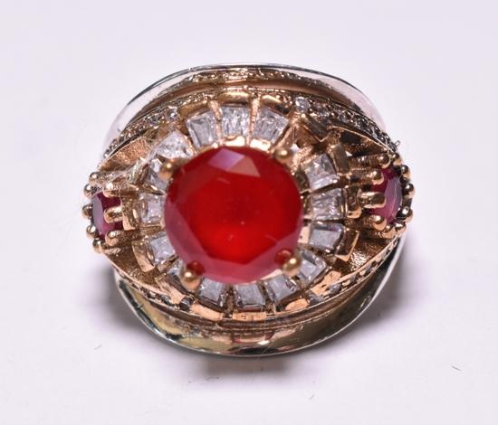Round Cut Ruby Dinner Ring