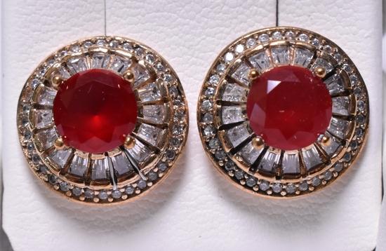 Round Cut Ruby Dinner Earrings
