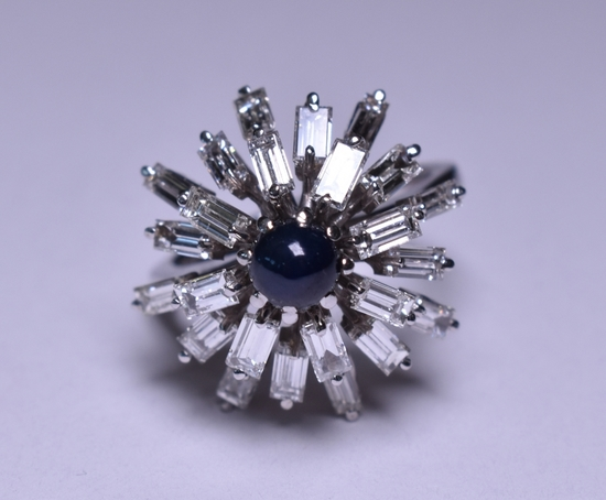 3.10 ct. Genuine Sapphire & Diamond Estate Ring