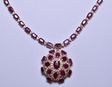 43.80 ct. Genuine Ruby & Diamond Necklace