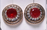 Round Cut Ruby Dinner Earrings