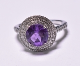 Round Cut Amethyst Dinner Ring
