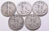 4 Walking Liberty Half Dollars