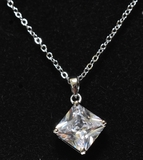 Flawless White Sapphire Square Cut Necklace