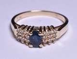 Genuine Sapphire & Diamond Dinner Ring, 14 kt.