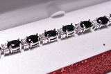 10.88 ct. Onyx & White Topaz Tennis Bracelet