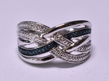 Genuine Blue & White Diamond Dinner Ring